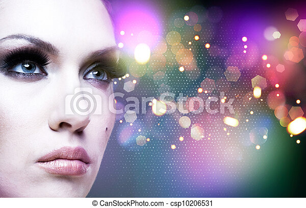 Art abstract female portrait with beauty bokeh - csp10206531