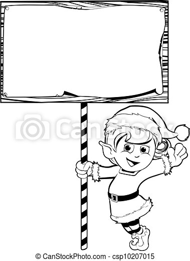 Christmas elf holding a sign - csp10207015