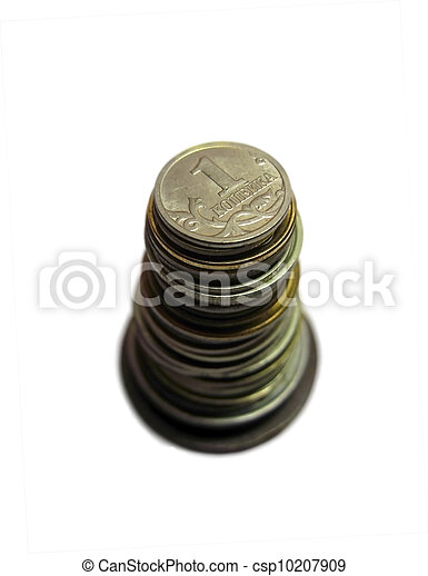 Coins stack of soviet and russian money different times isolated - csp10207909