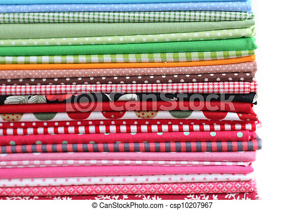 Pile of colorful cotton textile  background - csp10207967