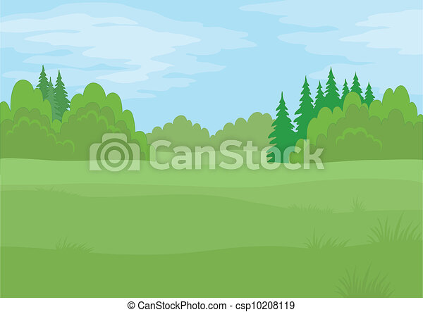 Vector Clip Art of Landscape, summer forest - Background ...