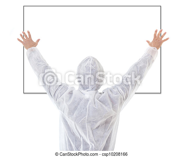 Man in protective clothes hanging up empty blank - csp10208166