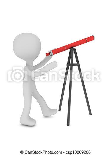 3d man with telescope - csp10209208