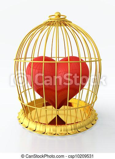 心, 金色, 笼子 - csp10209531
