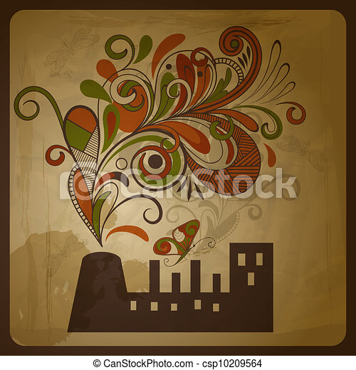 vector eco  concept composition with a factory and  floral exhaust smoke coming from it - csp10209564
