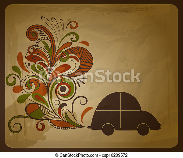 vector eco  concept composition with a car and floral exhaust coming from it - csp10209572