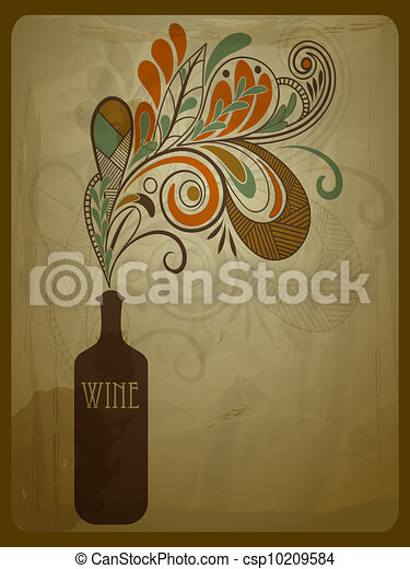 vector retro concept composition with stylized bottle of wine on crumpled paper texture - csp10209584