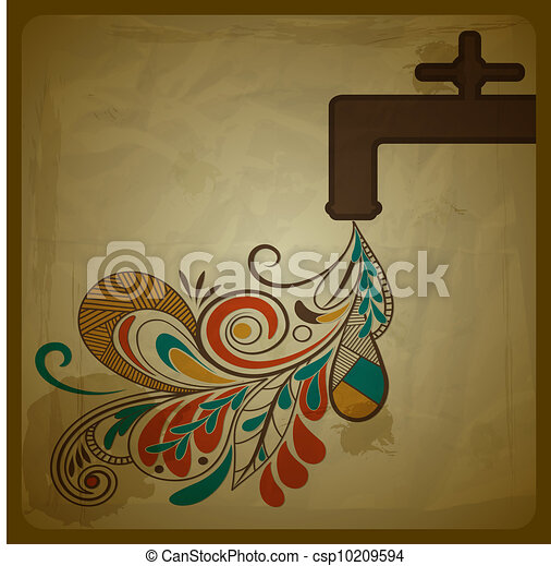 vector eco concept with a water tap and floral pattern flowing from it and symbolizing pure water - csp10209594
