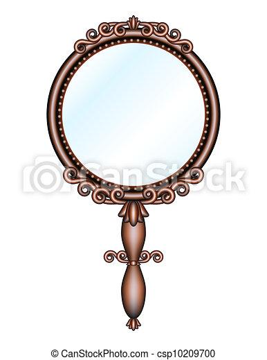 Vector Clipart of Antique retro hand-held mirror - Antique ... Vintage Hand Mirror Clipart