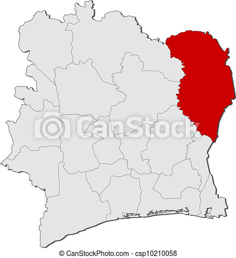 Map of Ivory Coast, Zanzan highlighted - csp10210058