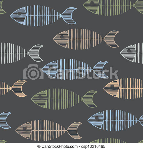 Seamless Tile With 50s Retro Fish Bone Pattern - csp10210465