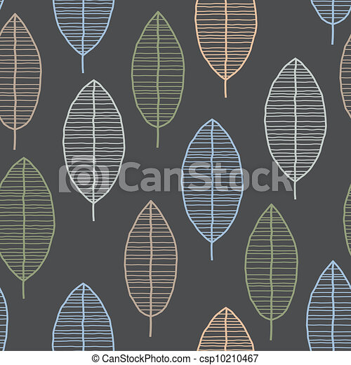 Seamless Tile With 50s Retro Leaf Pattern - csp10210467