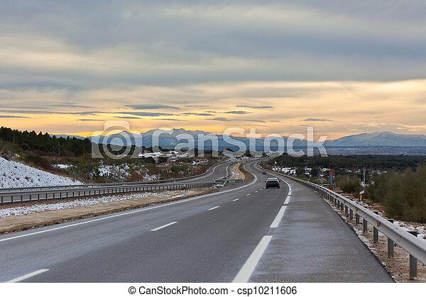风景, 图画, 空, 高速公路, 冬季, 中心, 西班牙