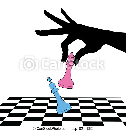 Battle of sexes game female queen win king - csp10211862