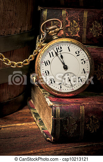 Stock Photo Of Old Pocket Watch And Books In Low Key