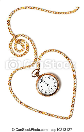 Heart chain with old pocket watch isolated on white background - csp10213127