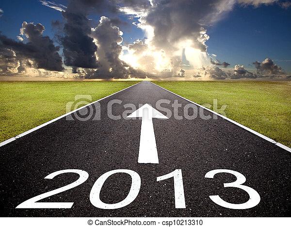 Soluppgång, väg, bakgrund, år, färsk,  2013 - csp10213310
