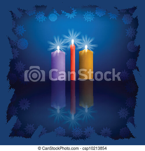 Burning Candles with reflections - csp10213854