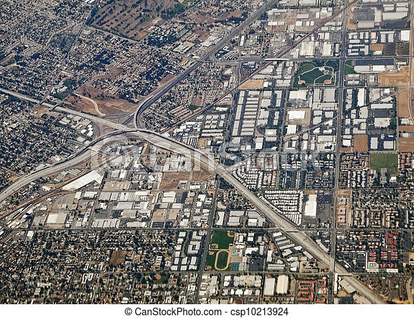 Riverside California Aerial 60 and 91 Freeway Intercahnge - csp10213924
