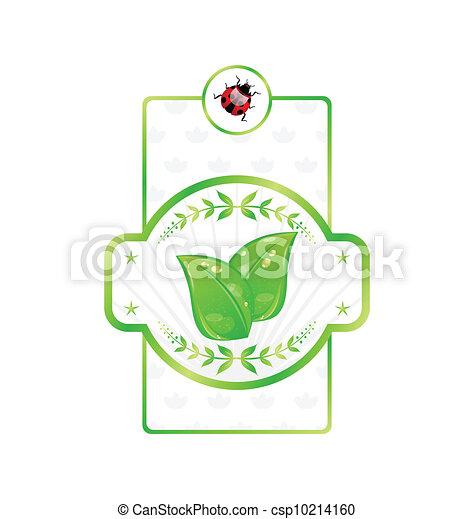 Natural eco label with green leaves for packing product - csp10214160