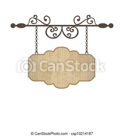 Wooden sign with place for text, floral forging elements - csp10214187