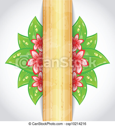 Illustration eco friendly background with green leaves, flower, wooden texture - vector - csp10214216