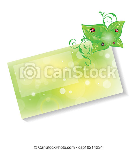 Eco friendly card with green leaves and ladybugs - csp10214234