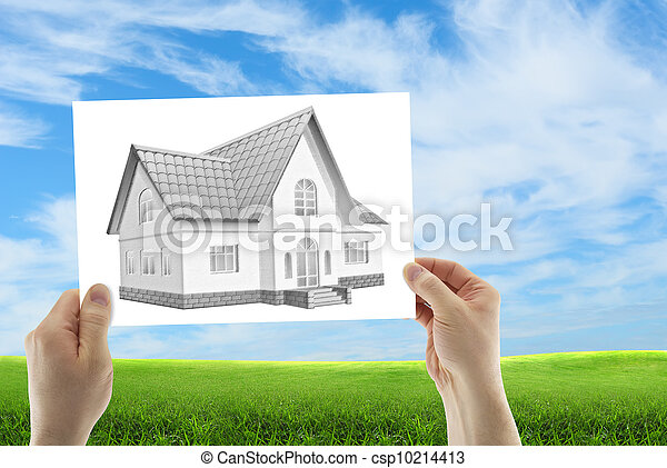 Three dimensional house sketch - csp10214413