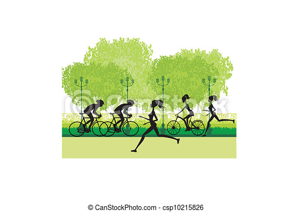 silhouette of marathon runner and cyclist race  - csp10215826