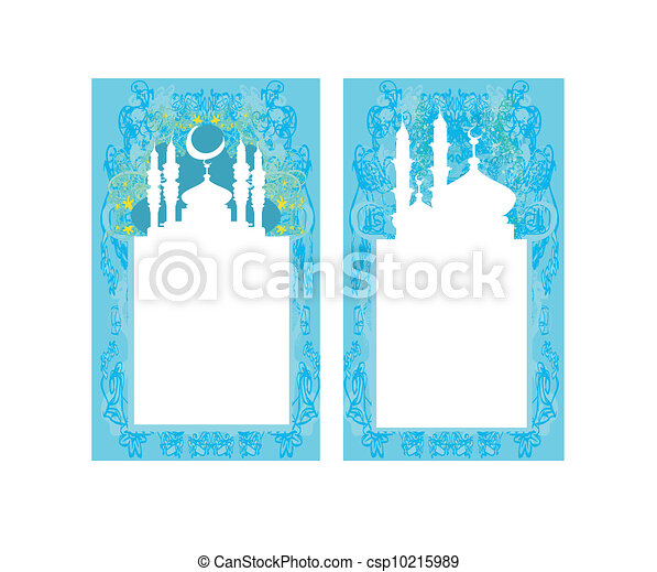 Ramadan background - mosque silhouette card set  - csp10215989