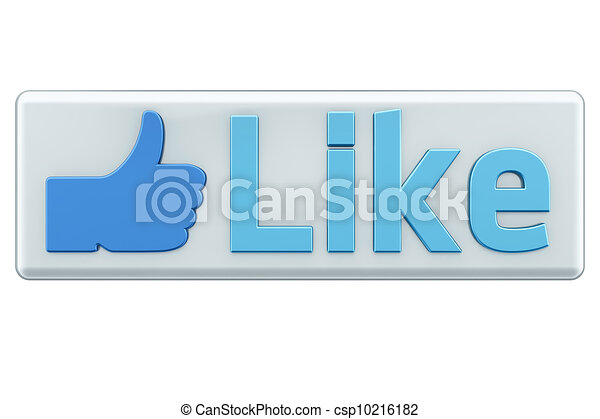 """""""Like"""" button 3d  render on white - csp10216182"""