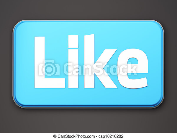 """Like"" button 3d  render on white - csp10216202"