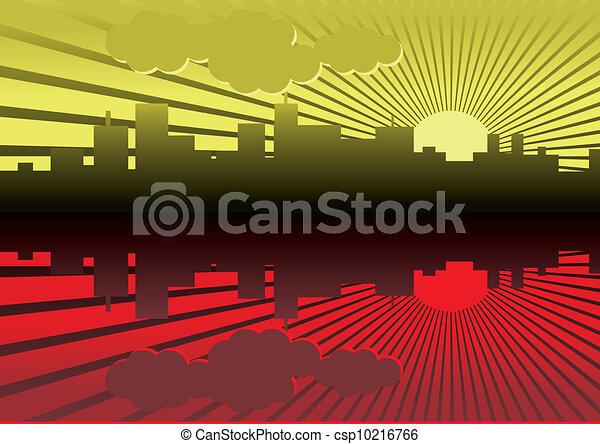 evening city panorama picture - illustration - csp10216766