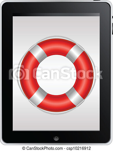 Tablet Computer With Red Life Buoy - csp10216912