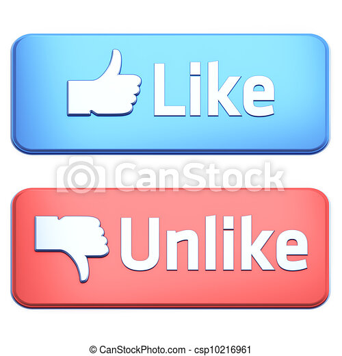"""Like"" and ""Unlike"" buttons 3d  render on white - csp10216961"