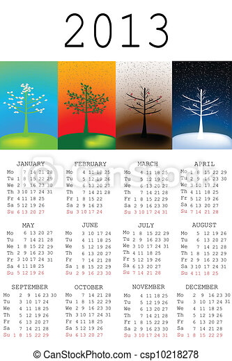 2013 Calendar with tree in all the seasons - csp10218278