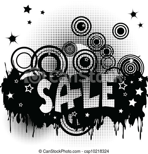 Grunge sale advertisement with circles and spots - csp10218324