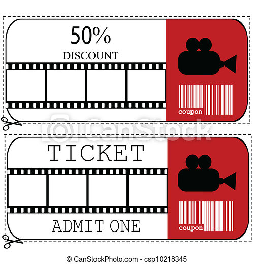 Sale voucher and entrance ticket for cinema movie - csp10218345