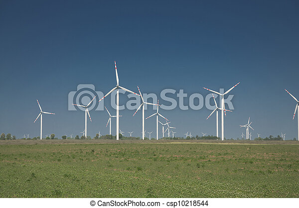 Wind turbine farm on rural terrain - csp10218544