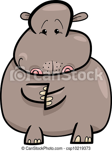 Hippo or Hippopotamus Cartoon - csp10219373