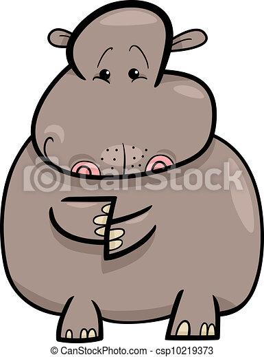 Hippo or Hippopotamus Cartoon - csp10219373