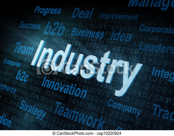 Pixeled word Industry on digital screen - csp10220924