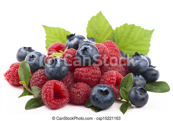 Raspberries and blueberries on white background - csp10221163