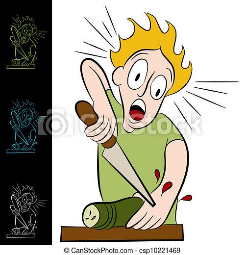 Man Cuts Himself Chopping Vegetable - csp10221469