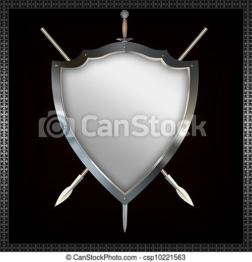 Shield with spears and sword. - csp10221563
