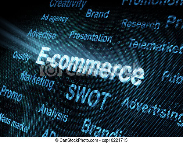 Pixeled word E-commerce on digital screen - csp10221715