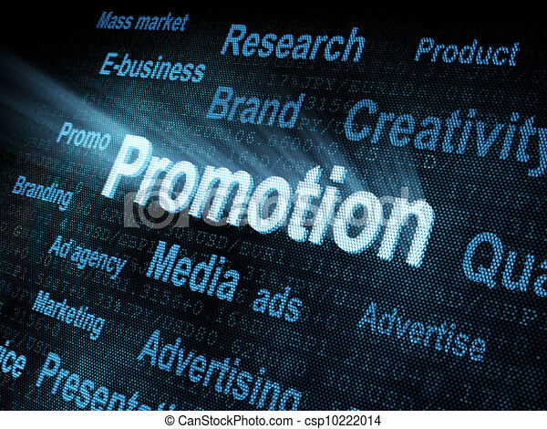 Pixeled word Promotion on digital screen - csp10222014