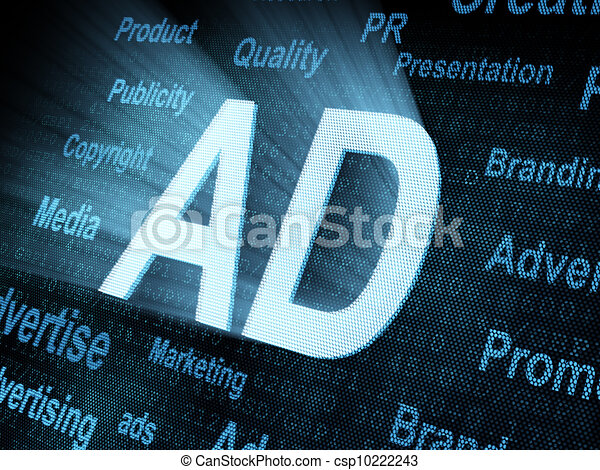 Pixeled word AD on digital screen - csp10222243