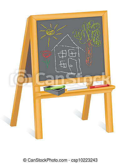 Childs Drawings, Blackboard Easel - csp10223243