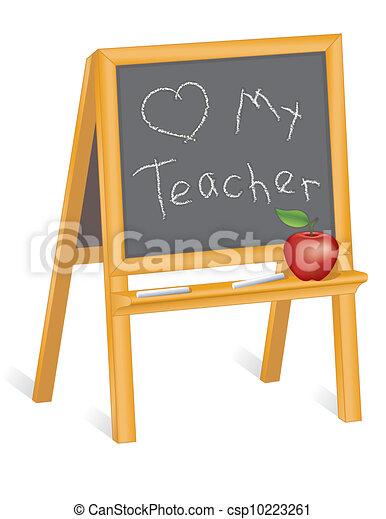 Love My Teacher, Blackboard Easel - csp10223261